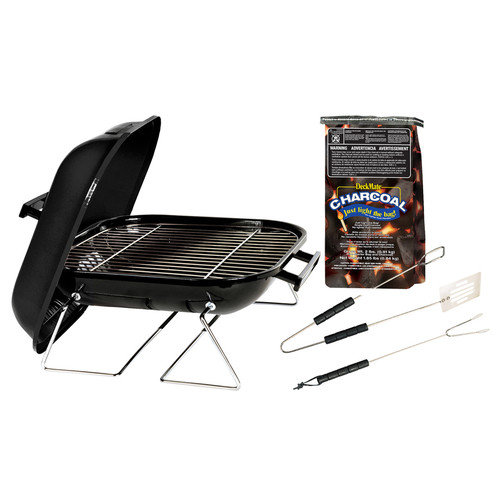Akerue Industries 14'' Tabletop Charcoal Grill with Charcoal and Tool Set