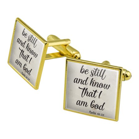 Be Still and Know that I am God Psalm Inspirational Christian Square Cufflink Set Gold Color ()
