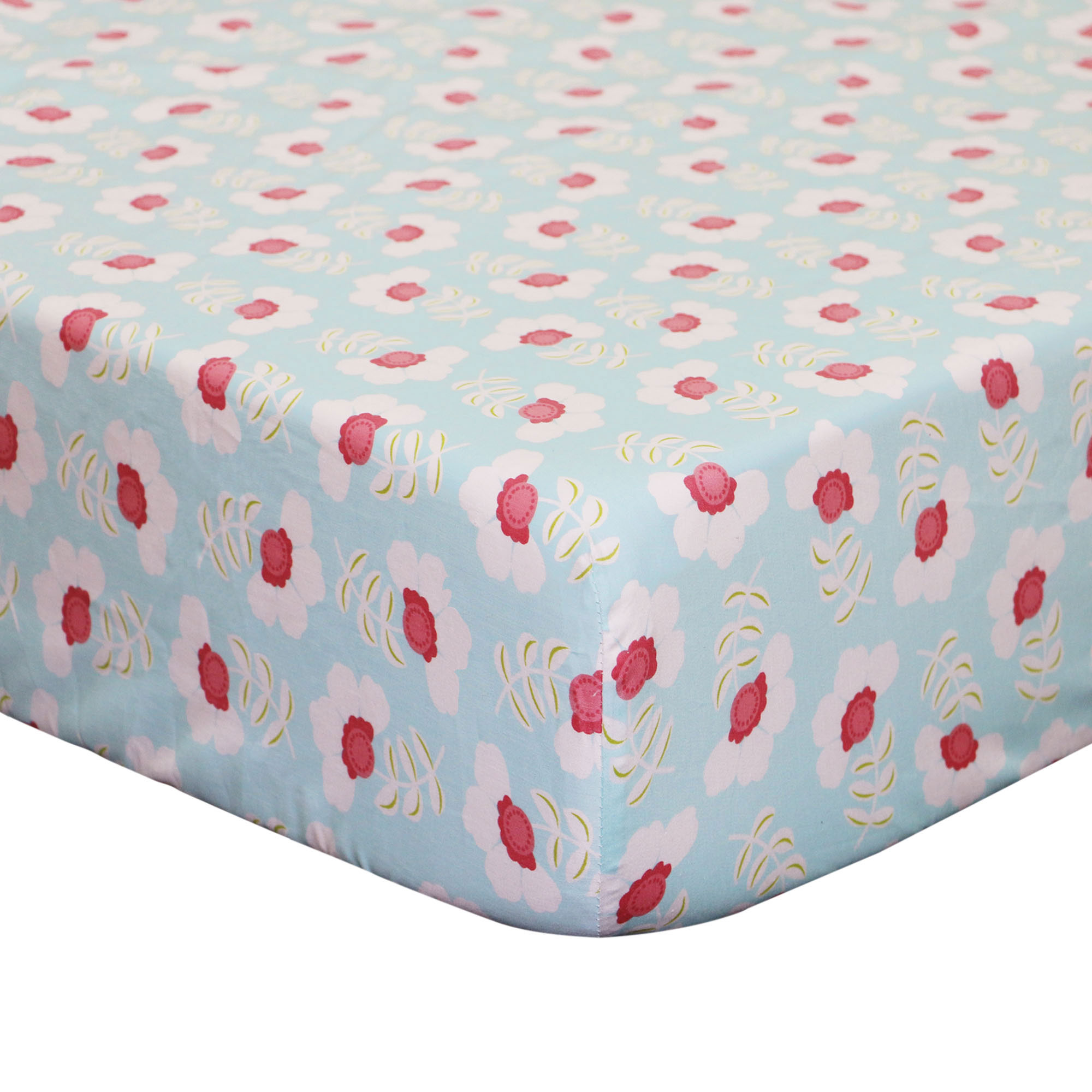 The Peanut Shell Baby Girl Crib Sheet - Coral and Aqua Floral Design - Mila Fitted Crib Sheet