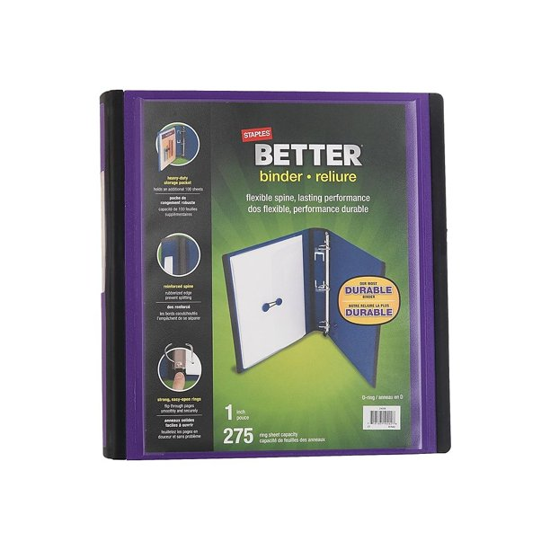 Staples Better 1-Inch D 3-Ring View Binder Purple (19065