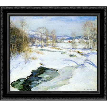 Icebound Brook (aka Winter's Mantle) 20x20 Black Ornate Wood Framed Canvas Art by Metcalf, Willard ()