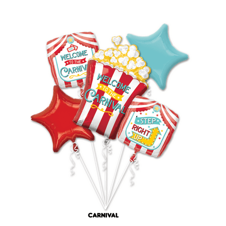 Carnival Theme Balloon Bouquet Party Supplies - 5pcs Set