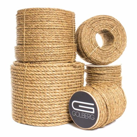 Twin Rope - GOLBERG Manila Rope - Heavy Duty 3 Strand Natural Fiber - 1/4 inch, 5/16 inch, 3/8 inch, 1/2 inch, 5/8 inch, 3/4 inch, 1 inch, 2 inch - Available in Different Lengths