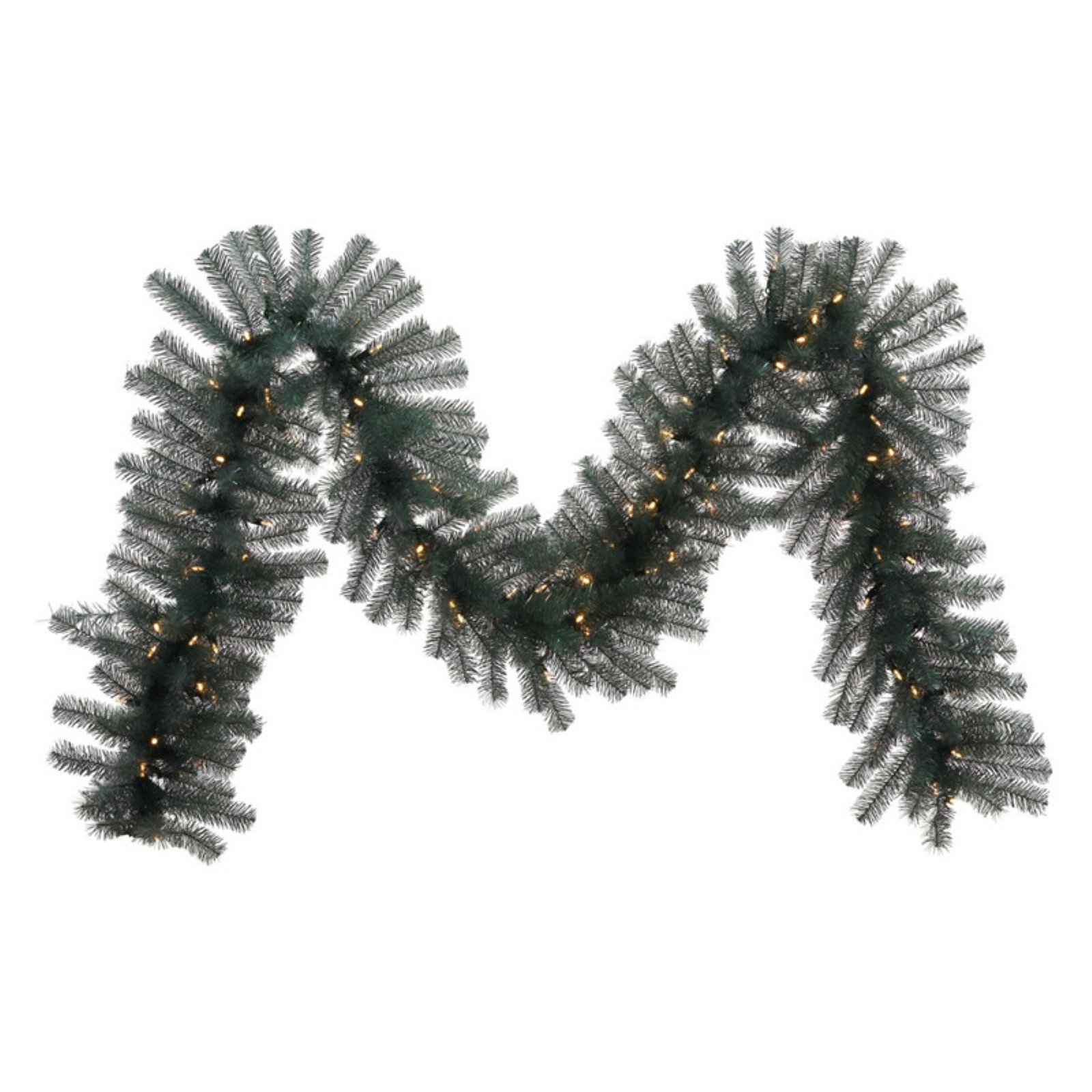 "Vickerman 9' x 14"" Blue Crystal Artificial Garland featuring 300 PVC Tips and 100 Warm White LED Lights"