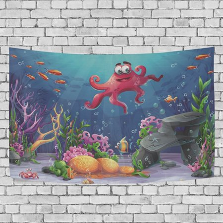 MYPOP Octopus Coral And Colorful Reefs Algae Sand Tapestry Wall Hanging Decoration Home Decor Living Room Dorm 60 x 40 inches - Coral Reef Decoration