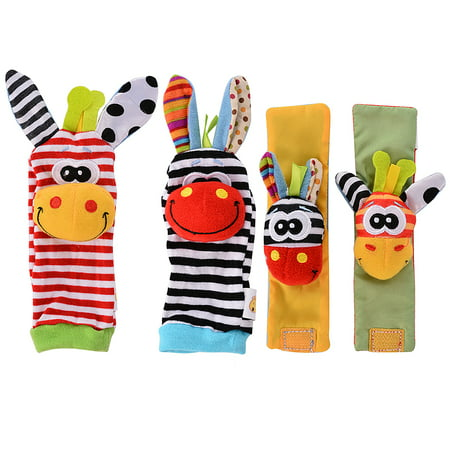 Baby Learning Fun - Animal Wrist and Sock Rattle Soft Developmental Toy Gift Set 4 Pcs - Zebra & Giraffe - Developmental Toys For Toddlers