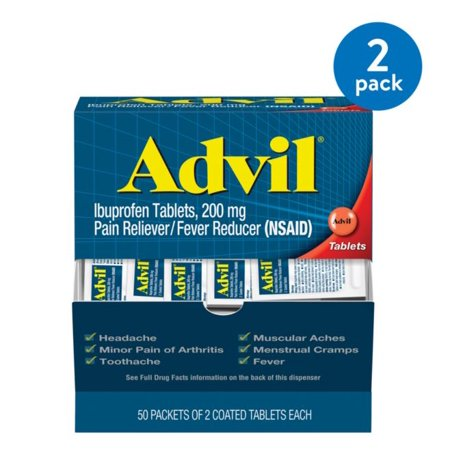 (2 Pack) Advil Pain Reliever / Fever Reducer Coated Tablet Refill 2 by 50 Ct, 200mg (Best Otc Pain Reliever For Toothache)