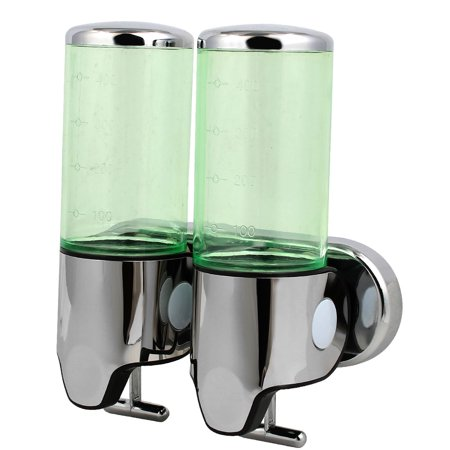 Abs Plastic Green - Uxcell ABS Plastic Wall Mount Double Chember Soap Dispenser Green, 17 oz Each Capacity
