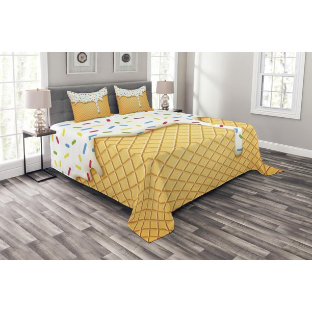 Decorative Quilted Coverlet Set, Ice Cream Sprinkles Bedding