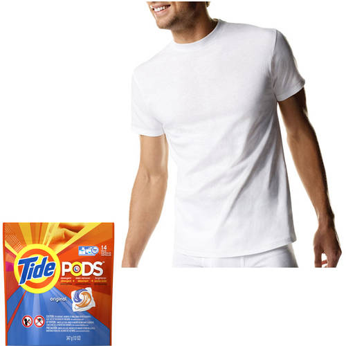 Hanes - Big Men's Crew Tee Shirts, 5-Pack with Bonus Tide Pods