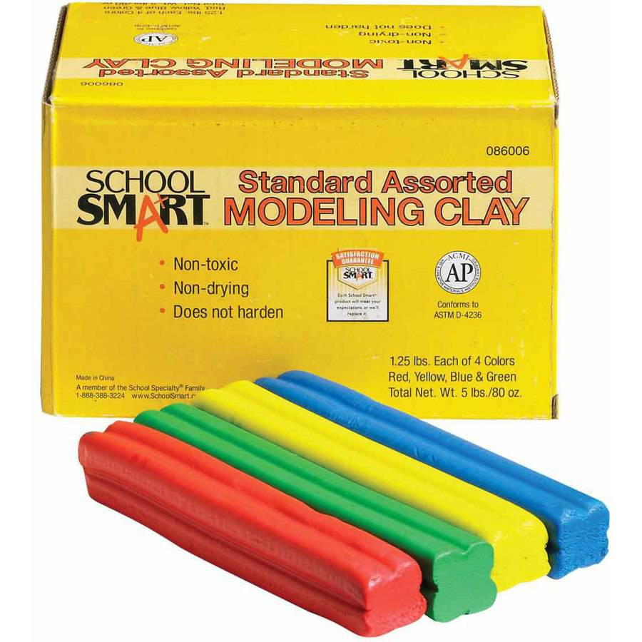 School Smart Non-Toxic Modeling Clay Set, 5 lb, Assorted Standard Colors
