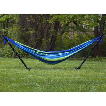 Sorbus Double Hammock with Steel Stand Two Person Adjustable Hammock Bed, Storage Carrying Case Included (Blue/Green)