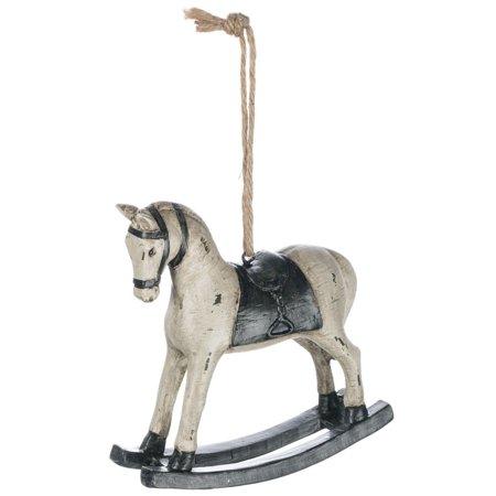 Woodcut-Look ROCKING HORSE Christmas Ornament, 4.5