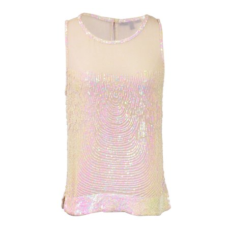 Ligali Dressy Sleeveless Loose Fitted Top With Mesh Neckline And Sequin Design - Dressy Toms