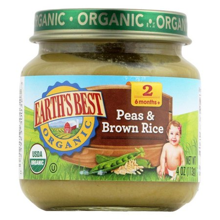 Earth's Best Organic Peas And Brown Rice Baby Food - Stage 2 - Pack of 12 - 4