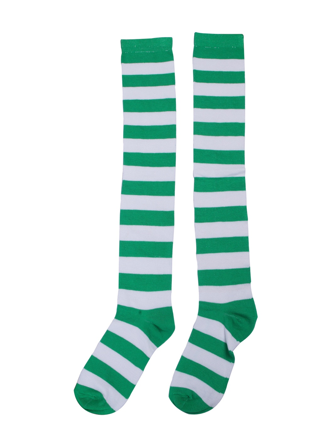 HDE Womenu0027s Green and White Striped Socks Over Knee High Extra Long  Stockings
