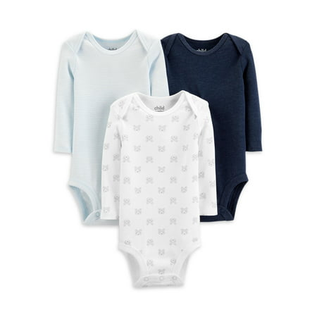 Child Of Mine By Carter's Long Sleeve Bodysuits, 3pk (Baby Boys) Carters Boys Five Pack