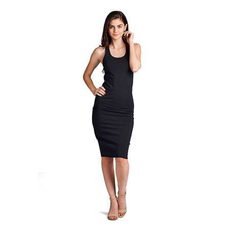 Womens Bodycon Fitted Solid Racerback Midi Dress - Shirred Back Dress