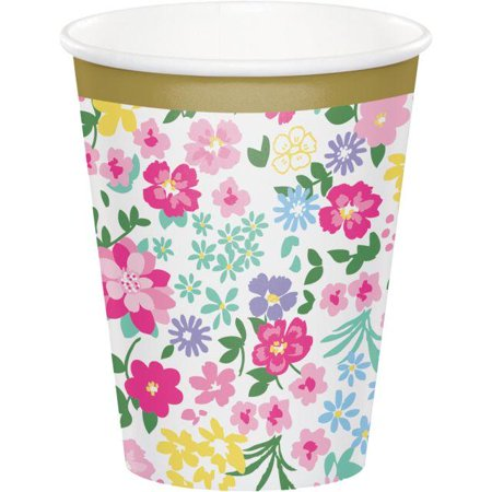Creative Converting Floral Tea Party Hot/Cold Paper Cups 9 Oz., 8 ct