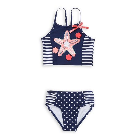 Little Girl's 2-Piece Starfish Striped Swimsuit (Flapdoodles 2 Piece)