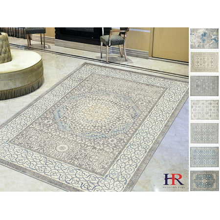 Handcraft Rugs Persian Rug – Silver/Ash Gray/Ivory-Faded, Oriental Distressed Area Rug – Modern Vintage Design Persian Area Rug – Abstract, Multicolor Kashan Design Persian Rug – (8x10 feet)