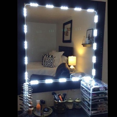 60 Lcd Wall - Vanity Mirror Lights Kit, TSV Dimmable 10FT 60 LED White Dressing Mirror Lighted Cosmetic Makeup Vanity Light with Remote and Hand-Reach Controller