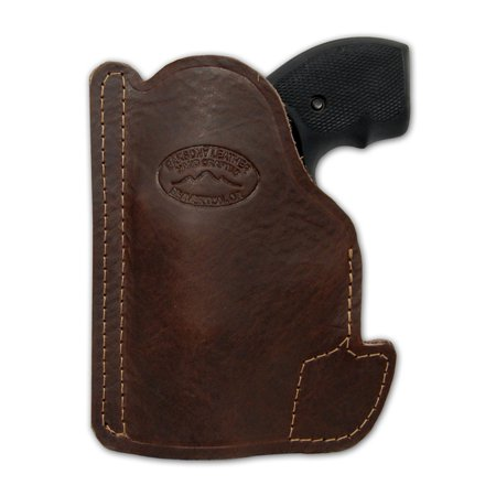 Barsony Ambidextrous Brown Leather Pocket Gun Holster Size 1 S&W Taurus Colt Charter Arms .22 .38 .357 (Best 38 Special Revolver)