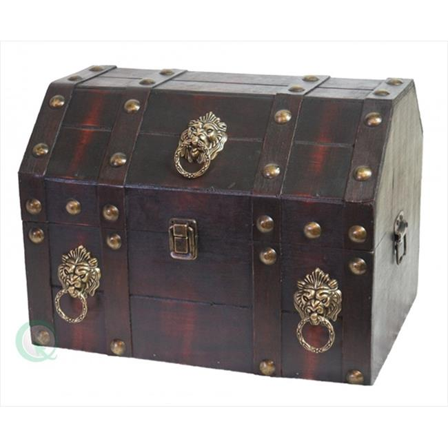 Quickway Imports QI003039 Antique Pirate Treasure Chest with Lion Rings