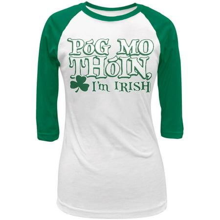 St Patricks Pog Mo Thoin Green Juniors 3 4 Raglan T Shirt