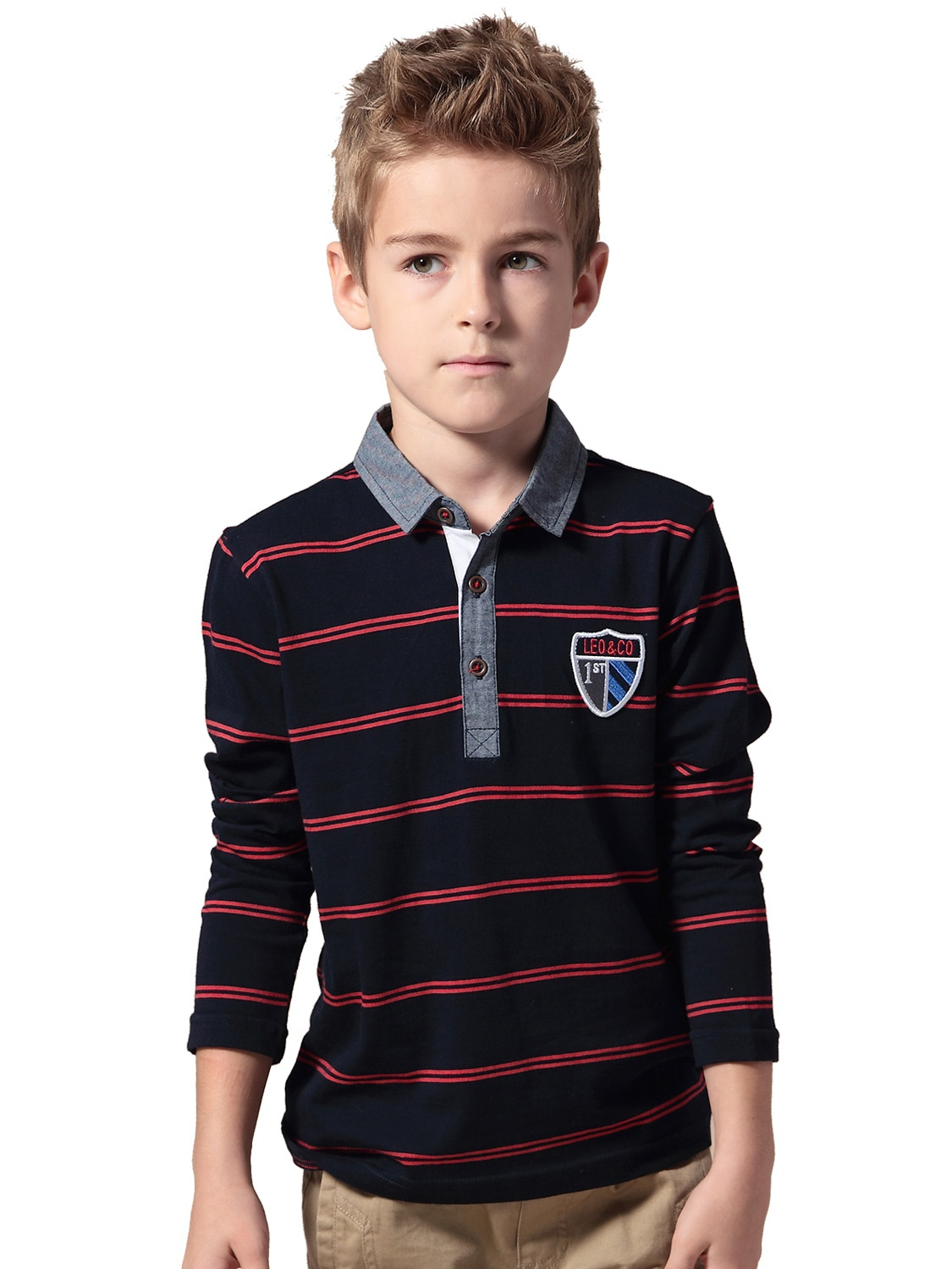leo&lily boys' long sleeves striped cardigan rugby polo shirt (navy, 14)