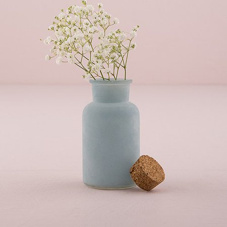 Small Frosted Sea Blue Bottle With Cork Stopper