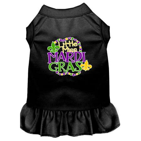 Miss Mardi Gras Screen Print Mardi Gras Dog Dress Black Xl
