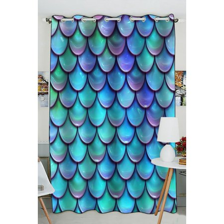 GCKG Fish Scales Purple Blue Window Curtain Kitchen Curtain Size 52(W) x 84 inches (One Piece) (Scale Window)