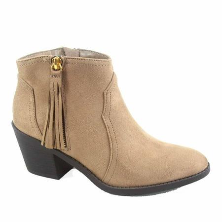 Rowley-s Women's Cute Almond Toe Zipper Low Stacked Heel Ankle Bootie Shoes