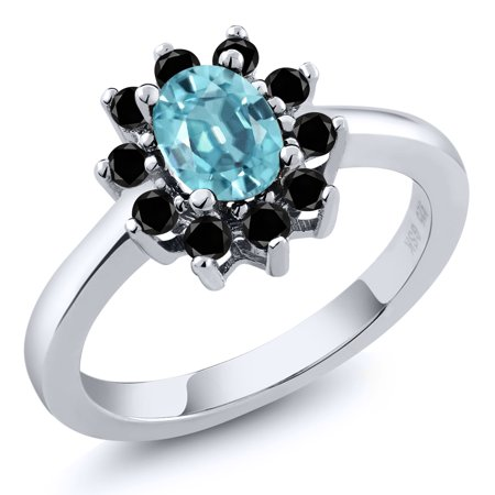 1 53 Ct Oval Blue Zircon Black Diamond 925 Sterling Silver Ring
