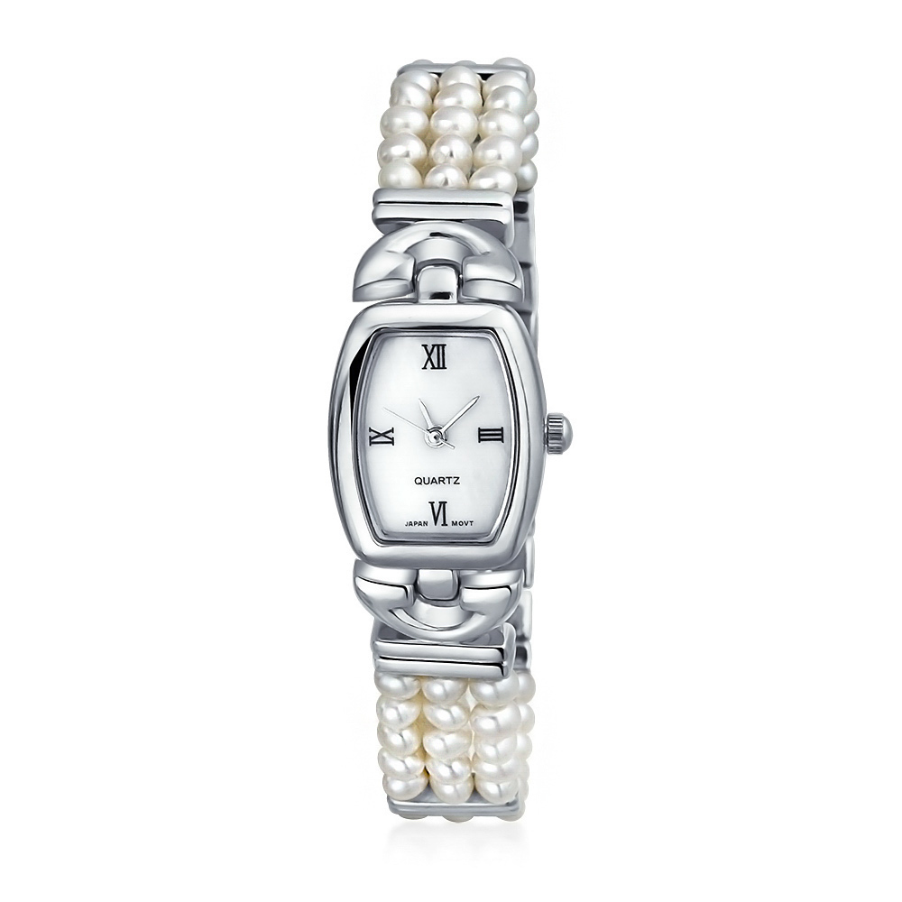 Bling Jewelry 3 Row Freshwater Cultured Pearl Bridal Watch Steel Back