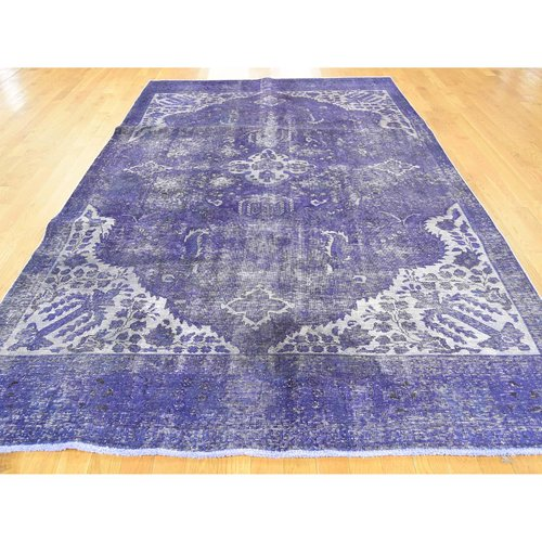 Isabelline One-of-a-Kind Karlie Overdyed Hand-Knotted 6'3'' x 10'9'' Wool/Cotton Purple Area Rug
