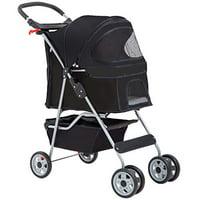 BestPet, Cat Carrier Stroller, 4 Wheels, Black