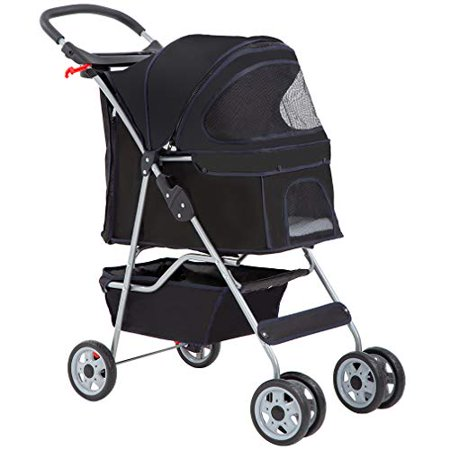 BestPet Black 4 Wheels Pet Stroller Cat Dog Cage Stroller Travel Folding