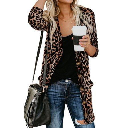 LEFASHION Women Leopard Print Open Front Long Sleeve Gradient Long Cardigan Tops - Leopard Onesie For Women