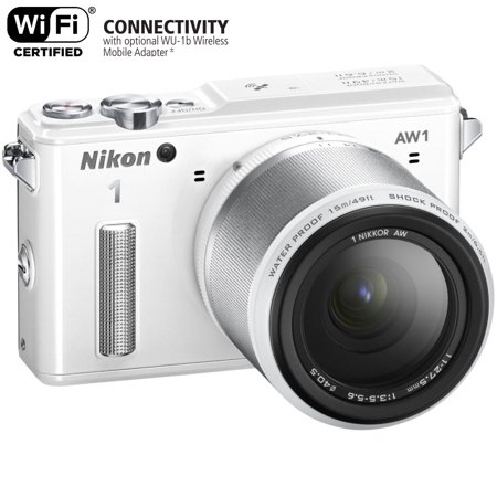 Nikon 1 AW1 14.2 MP HD Waterproof, Shockproof Digital Camera System with AW 11-27.5mm f/3.5-5.6 1 NIKKOR Lens (White)(Certified (Best Waterproof Shockproof Camera)