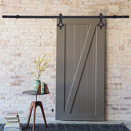 6ft Rhombic Balck Heavy Duty Sliding Barn Door Hardware Track Set