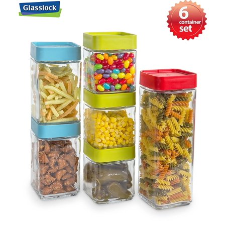 Glasslock 6 Block Square Glass Canister Set