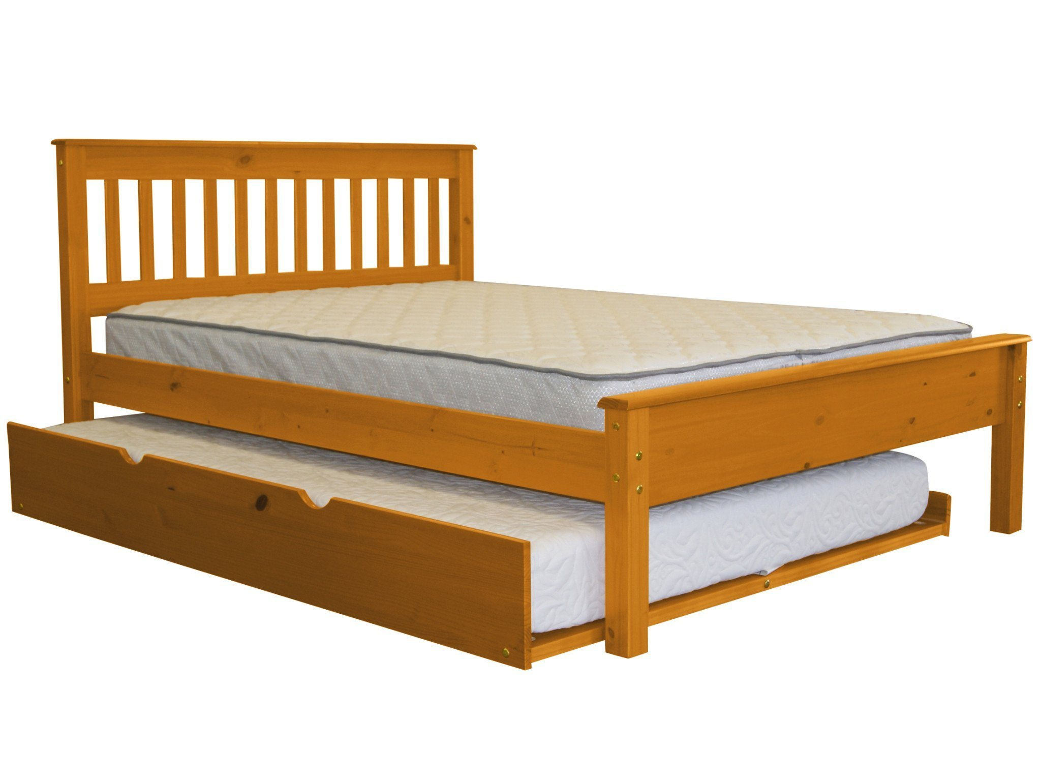 Bedz King Mission Style Full Bed with a Full Trundle, Espresso by Bedz King