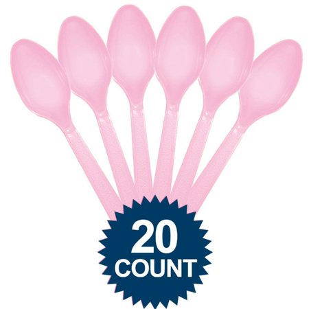 Pink Plastic Spoons 20 ct - Party - Party Supplies Pink