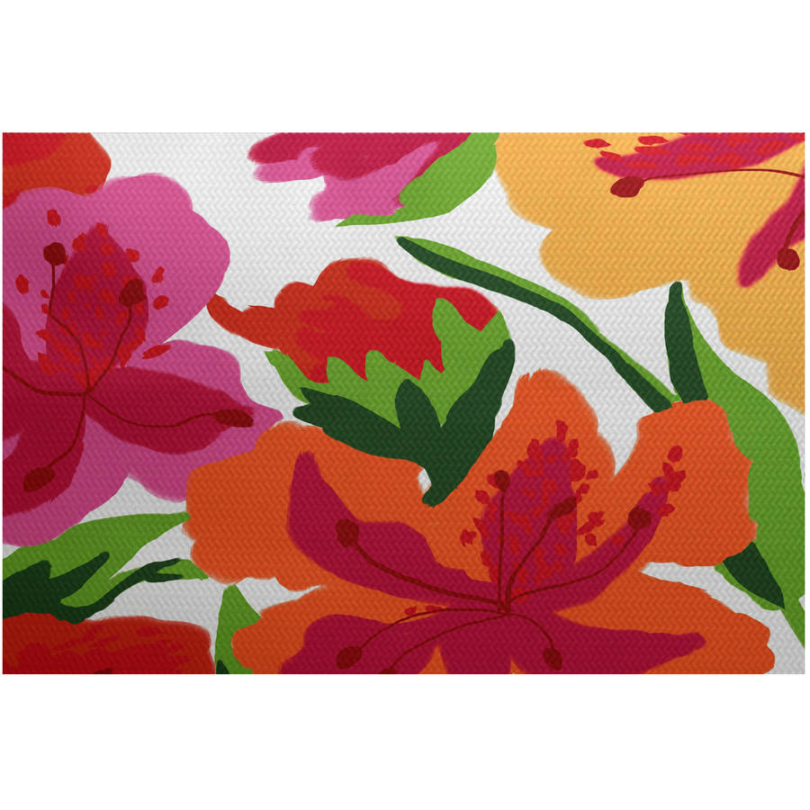 Simply Daisy, Tropical Floral, Floral Print Indoor Outdoor Rug by Generic