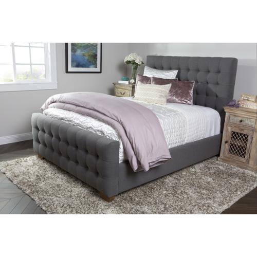 Kosas Collections Kosas Home Skylar Grey Tufted Linen Eastern King Size Bed