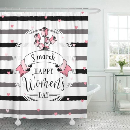 KSADK 8 March Womens Day with Lettering Text Sign Hearts White Round Shape Ribbon Hipster Roses on Rough Shower Curtain Bathroom Curtain 60x72 inch ()