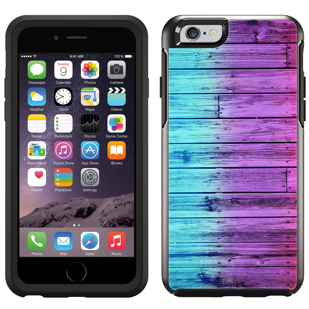 SKIN DECAL FOR OtterBox Symmetry Apple iPhone 6 Case - Dyed Wood Blue Pink DECAL, NOT A CASE