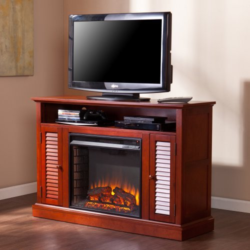 Southern Enterprises Buckhead Media Console Fireplace - Classic Mahogany